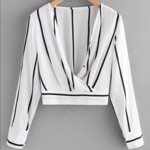 Tops - CROSSED FRONT STRIPE BLOUSE